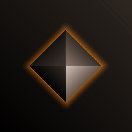 darkly: Orange shining pyramid on the dark background. Vector element.