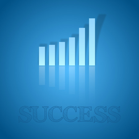business symbol: Blue graph up. Vector business symbol with text.