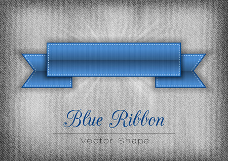 curved line: Blue ribbon on the gray noisy background. Vector shapes.