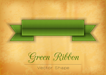 old paper background: Green ribbon on the old paper background. Vector shapes. Illustration
