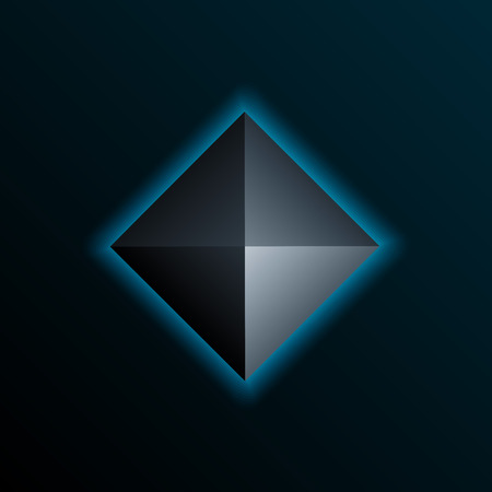 darkly: Blue shining pyramid on the dark background. Vector element.