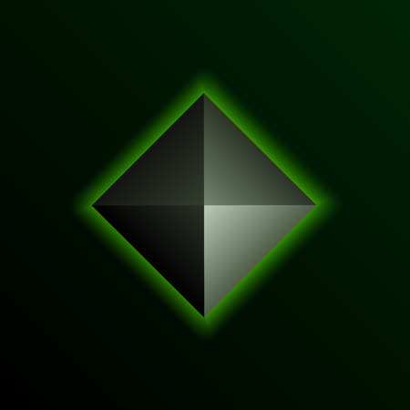 darkly: Green shining pyramid on the dark background. Vector element. Illustration