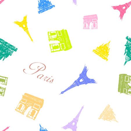 seamless texture: Nahtlose Textur mit den Sehensw�rdigkeiten von Paris.