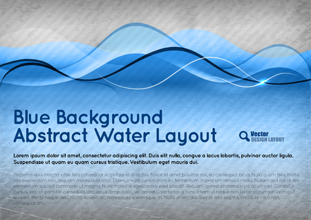 Blue background. Vector abstract water layout.  Vector
