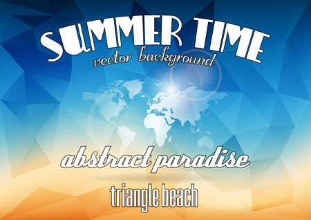 Summer background. Vector triangles as abstract summer beach with world map.