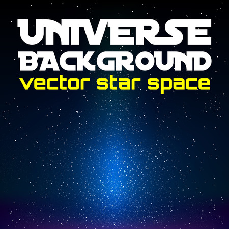 Vector universe. Black space with blue shining universe. Vector