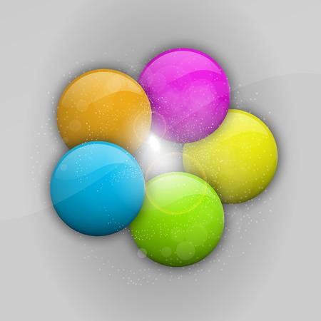 Five balls in the various colors  Vector design elements  Vector