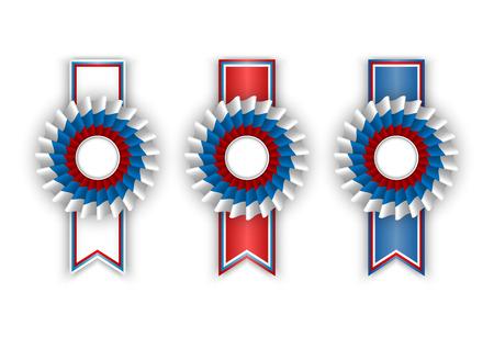 escarapelas: Tres rosetas en los colores blanco, azul y rojo