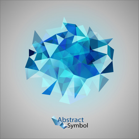 mishmash: Blue triangles as abstract symbol on the gray background