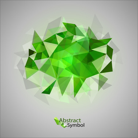edgy: Green triangles as abstract symbol on the gray background  Illustration