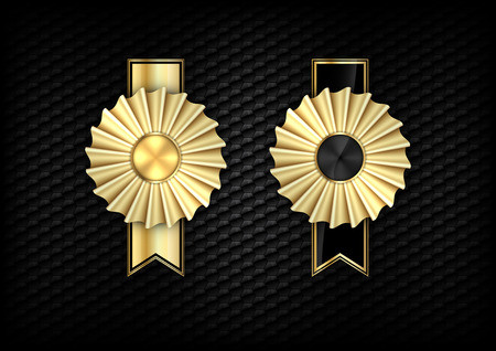 Gold rosettes on the black background.  Vector