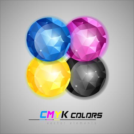 Four jewels as cmyk colors symbols. Vector