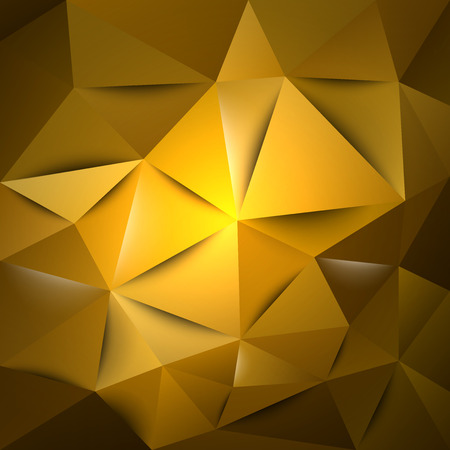 Gold triangles. Vector abstract background.