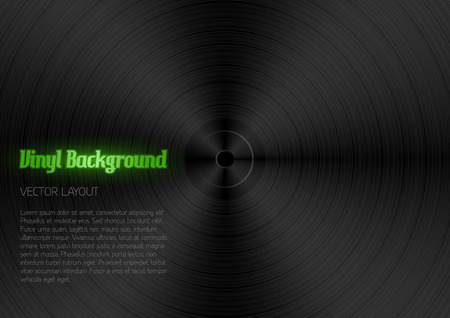 jukebox: Vinyl background. Black texture as vinyl desk. Vector layout.