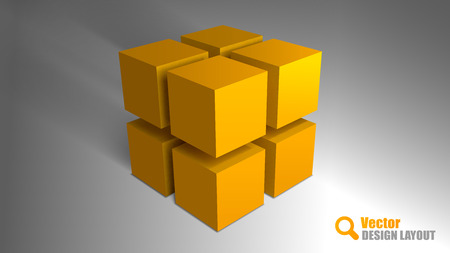 small business building: Orange cubes on the gray background. Vector elements. Abstract symbols. Illustration