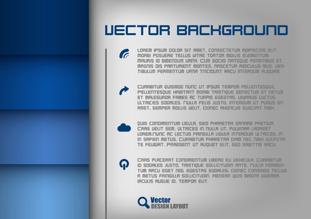 Blue design layout. Gray background with blue stripes. Vector elements. Vector