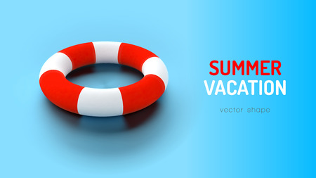 Swimming ring on the blue background. Vector vacation layout. Illustration