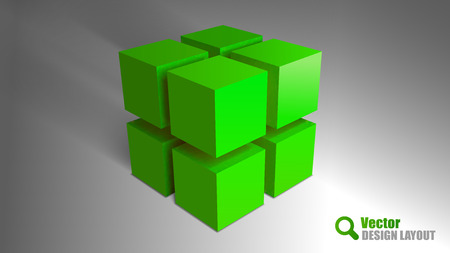 building bricks: Green cubes on the gray background. Vector elements. Abstract symbols.