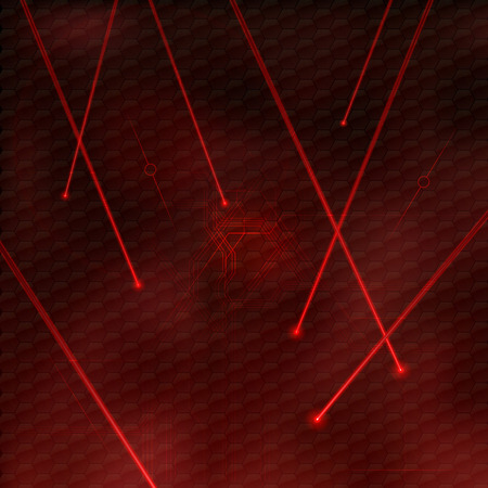 Red lasers as abstract background. Vector texture of shining beams.