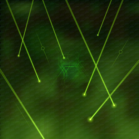 Green lasers as abstract background. Vector texture of shining beams.