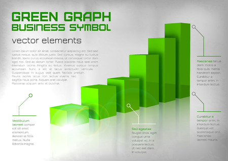 business symbol: Green graph up. Business symbol.
