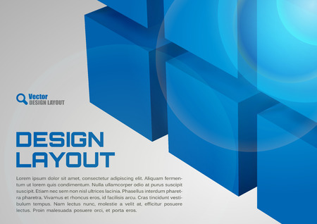 title page: Blue design. Cubes as abstract layout. Vector background. Illustration