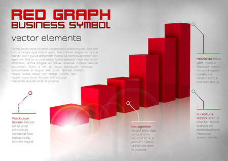 achievement charts: Red graph up. Vector business layout.