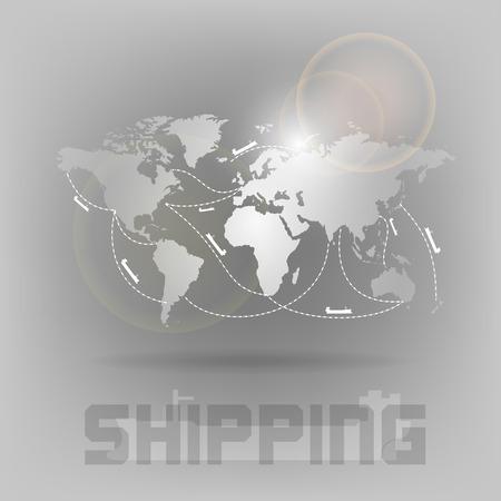 Ship transportation on the world map. Vector symbol. Illustration