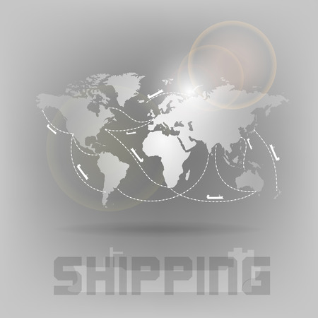 Ship transportation on the world map. Vector symbol. Illustration