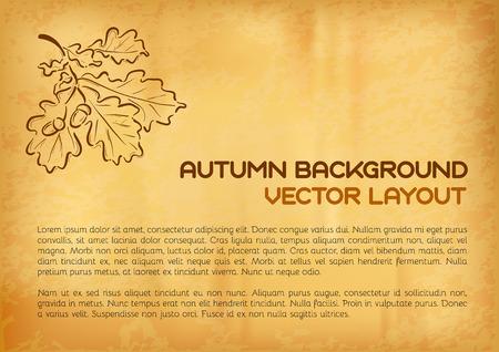 orange pattern: Autum layout. Oak leaves on the orange pattern.  Illustration