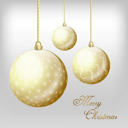 Christmas golden balls on the gray background Illustration