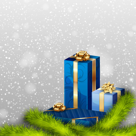 Blue gifts with branches. Christmas background Vector