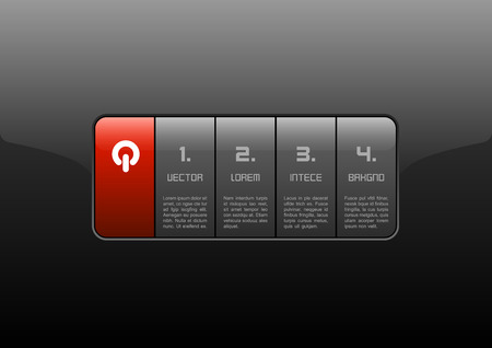 glass panel: Gray buttons on the black panel. Red layout of glossy interface