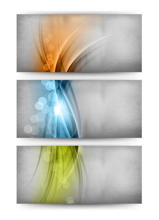Three cards with orange, blue and green waves. Abstract vector. Vector