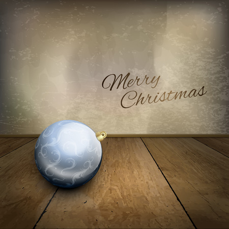 floor ball: Vector christmas ball on the wood floor. Merry christmas background.