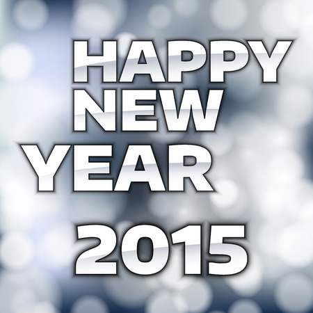 happy new year text: Happy New Year 2015 - Silver text on the blue background.