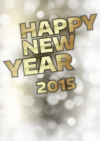 happy new year text: Happy New Year 2015 - Gold text on the blurred background.