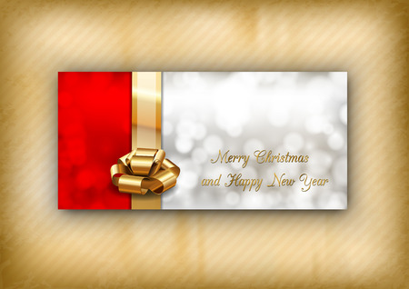 gray strip: Red and gray background with golden ribbon as christmas card. Vector elements.