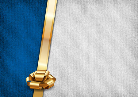 Blue and gray background with golden ribbon. Vector textures. Vector
