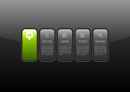 Gray buttons on the black panel. Green layout of glossy interface. Vector elements. Vector