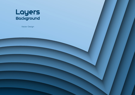 Blue background as many wavy layers. Vector design. Illustration