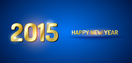 Blue and gold greeting card for New Year 2015. Vector