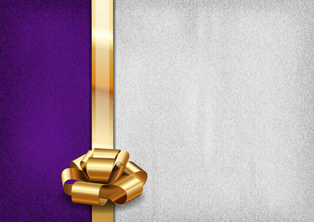 Purple and gray background with golden ribbon Vector