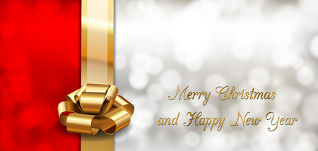 Red and gray background with golden ribbon as christmas card. Vector elements. Vector