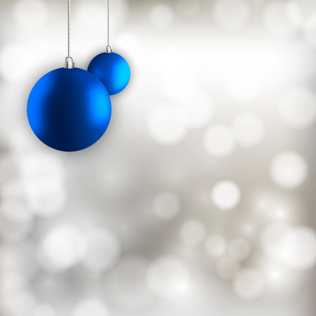 Blue simple christmas balls on the silver abstract background. Vector