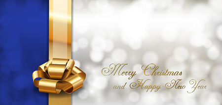 Blue and gray background with golden ribbon as christmas card. Vector