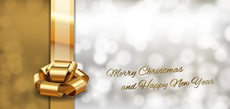 Gouden achtergrond met lint als kerstkaart.