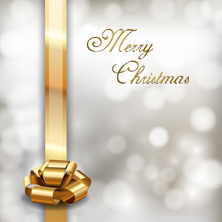 Merry Christmas background with golden ribbon. Vector