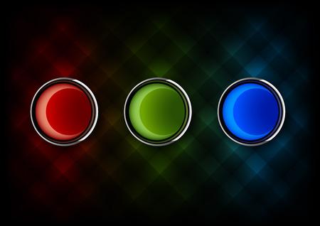 glossy buttons: Tre pulsanti lucidi i colori RGB. Verde rosso e elementi vettoriali blu.