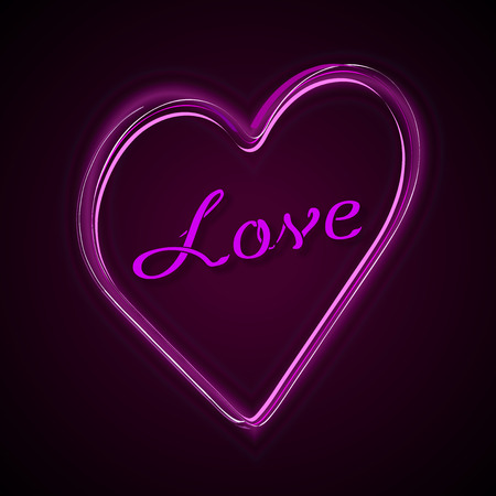 corazon rosa: Pink heart with text Love. Vector shapes on the dark background.